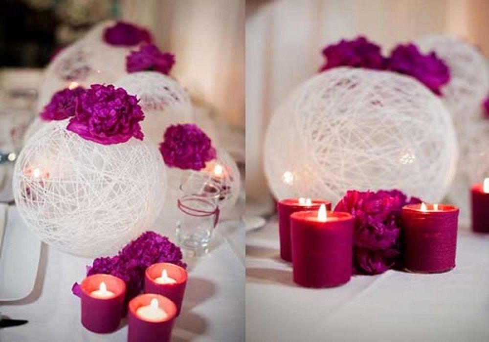 Dekoracja ślubna cotton balls