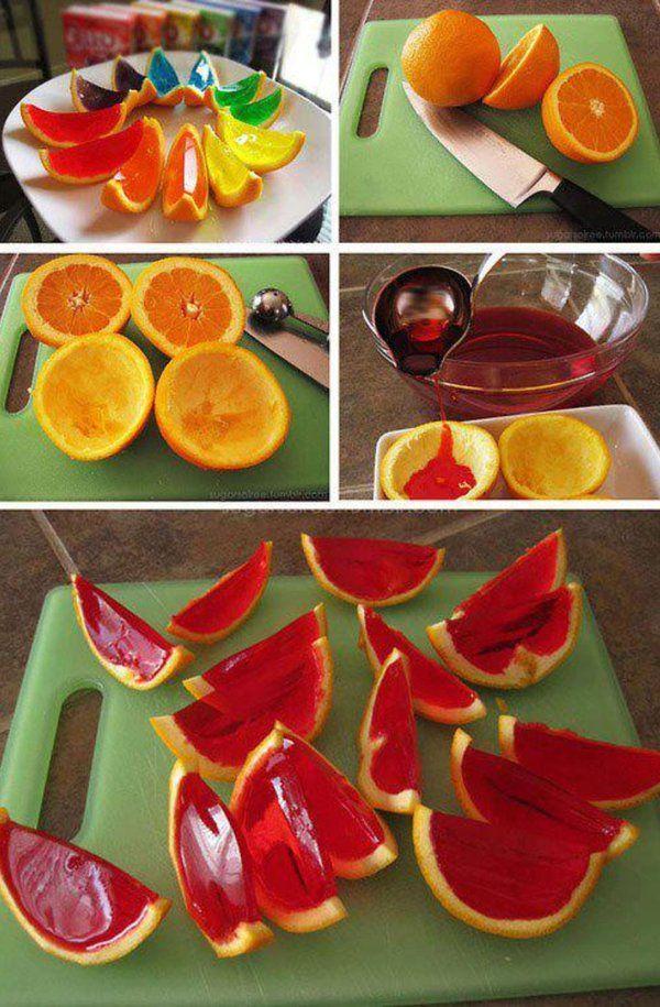 Kolorowa galaretka w pomarańczy