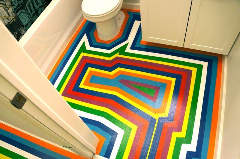 Kolorowa Podłoga W łazience Wnętrza