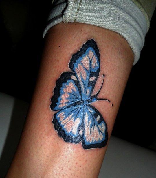 Motyl Czarno Niebieski Tatuaż Owady