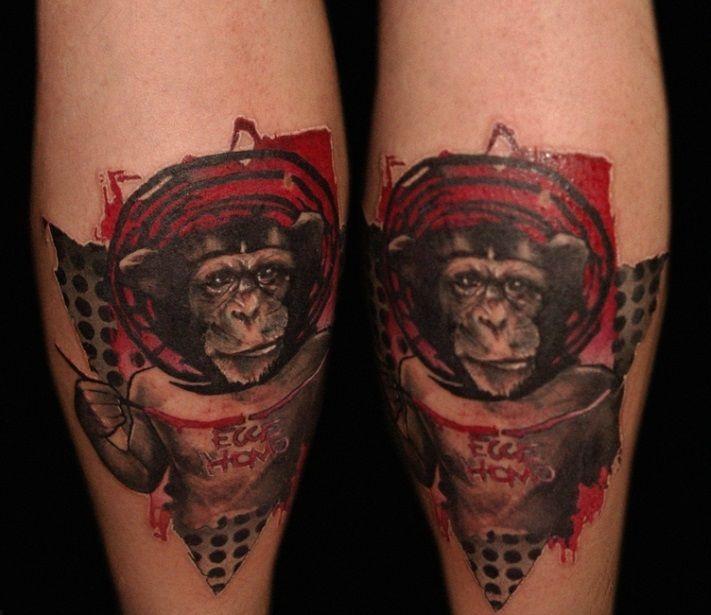 Tatuaż Z Małpą Zwierzęta